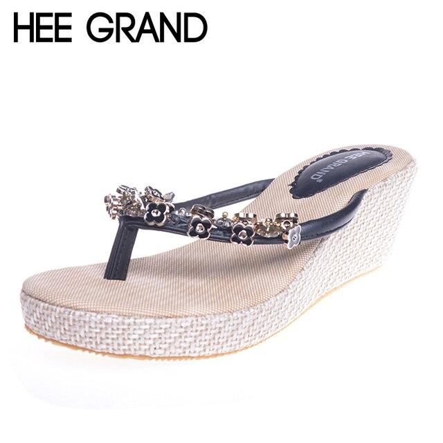 b610c46d6c6af HEE GRAND Flip Flops Woman Summer Slippers Wedge Pumps Rhinestone Beading  Hemp Bohemia Beach Style Shoes Woman XWT300