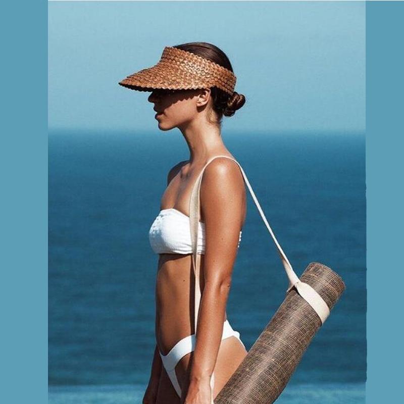 Temperamentvoll Sommer Stroh Sägezahn Visier Kappe Hand-woven Stroh Hut Im Freien Sonnenhut Freizeit Strand Leere Top Hut Durch Wissenschaftlichen Prozess Bekleidung Zubehör Kopfbedeckungen Für Damen