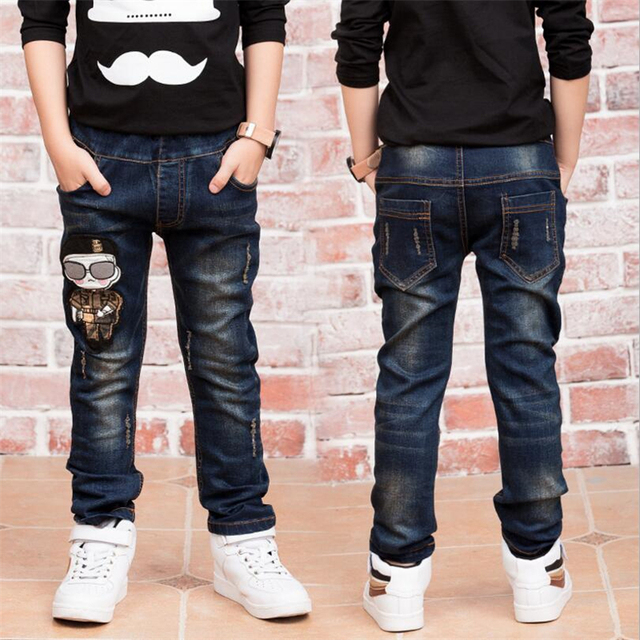 5da54034050 2019 Children denim pants big boys slim jeans Boys Jeans ...