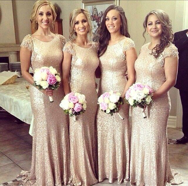 2015 Modest Wedding Guest Dresses Gold Sequin Mermaid O Neck Plus ...