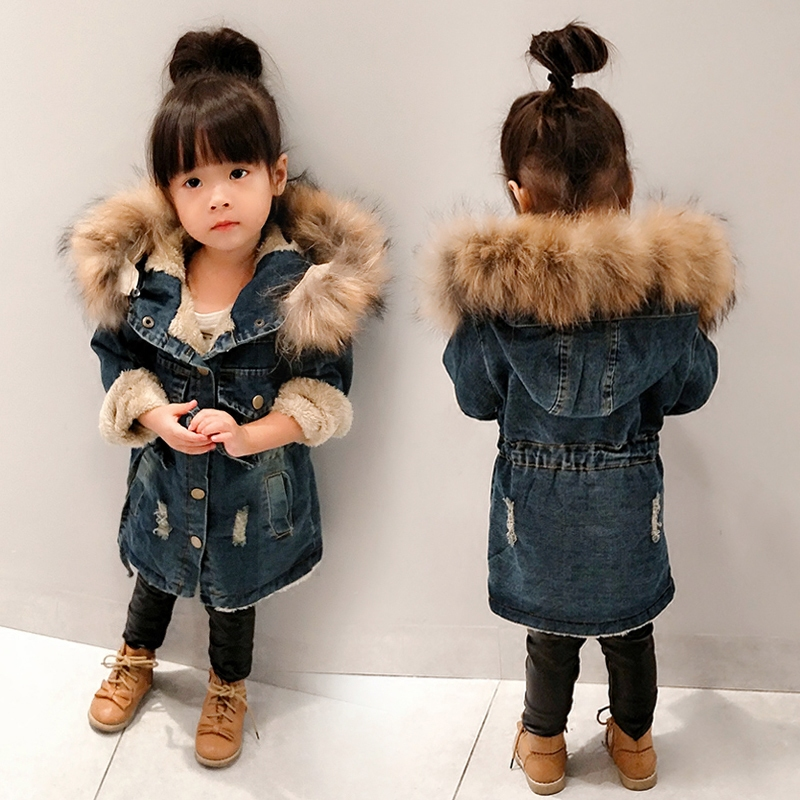 Winter Fleece Denim Jacket New Casual Children s Long Cotton Padded Coat