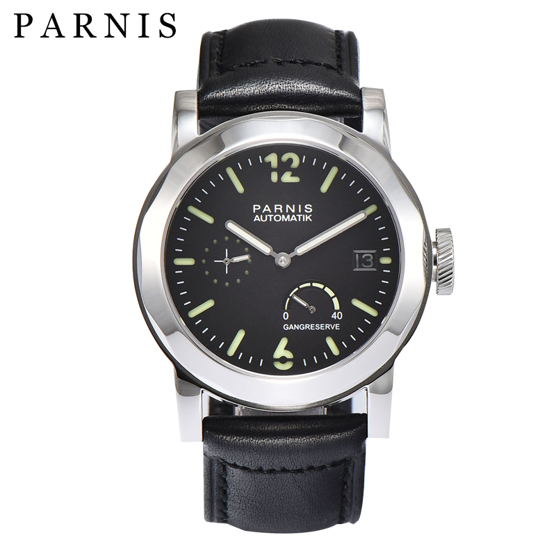 43mm Parnis SeaGull Black Automatic Watch Power Reserve/GMT - Men's Watches