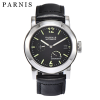 43mm Parnis Black Automatic Watch Power Reserve/GMT Mechanical Watches Men Sapphire Crystal Leather Rubber Band Available