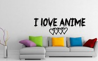 Quote Anime Wall Decal Vinyl Wall Sticker I Love Anime Wall Lettering With Hearts Bedroom Decor