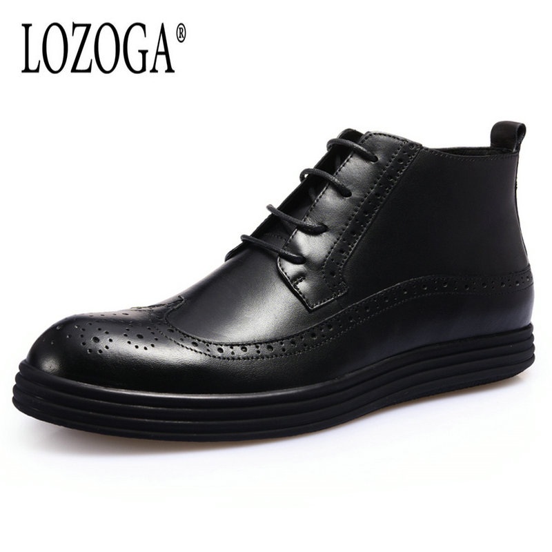Lozoga New Men Boots Autumn Winter Genuine Leather Black Snow Boots Ankle Lace-Up Brogue Casual Shoes Luxury Quality Flat Boots autumn and winter new leather shoes with leather boots and boots with flat boots british classic classic hot wild casual shoes