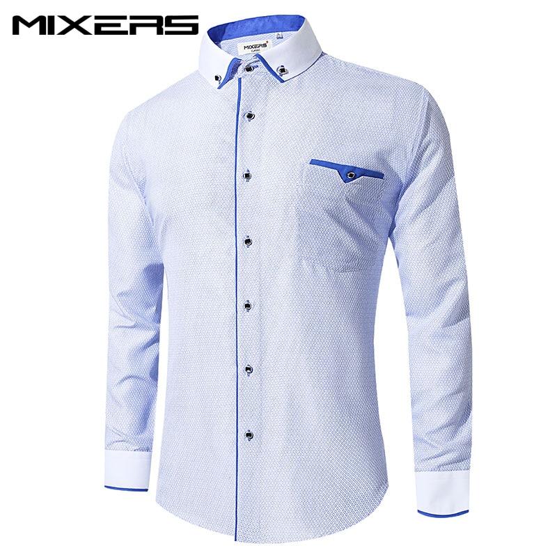 New Arrivals White Printed Dress Shirt Men Long Sleeve Slim Fit Casual Men