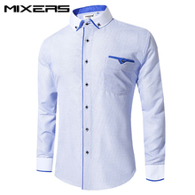 New Arrivals White Printed Dress Shirt Men Long Sleeve Slim