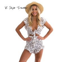 Casual Floral Print Playsuit Deep V Camis Sexy Bodysuit Women Shorts Cut Out Backless Boho Jumpsuit vestido Summer Style Romper