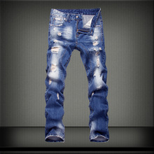 Jeans spring and summer mens washed white jeans fashion casual hole blue trousers cotton straight  large size