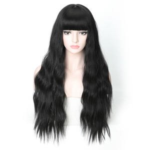 Rosa Star Long Wavy Synthetic Wigs With Bangs For Women Black Heat Resistant Cosplay Costume Wig 7 Color