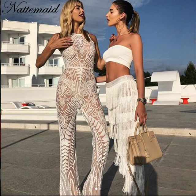 00c84dcd9a2d NATTEMAID Tassel 2018 Summer Two Piece Set Women Crop Top And Pants Outfits  Casual Strapless Off
