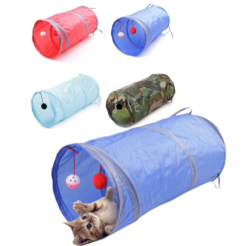 Pet DogTunnel Toy Indoor Outdoor Pet Cats Training Toy Kitten Rabbit Ring Bell Play Tunnel House Toy