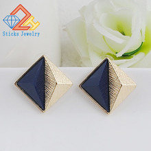 Vintage Square Triangle Earrings Navy blue Resin Brincos de festa 2015 Women Party Jewelry