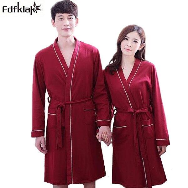 9c5c7b76006c € 18.1 49% de DESCUENTO Alto grado del nuevo kimono sexy parejas Albornoz  de algodón manga larga otoño invierno suave túnica vestidos para las ...