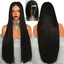 Marquesha 6 Inch Hand Tied Black Straight Synthetic Lace Front Wig Heat Resistan