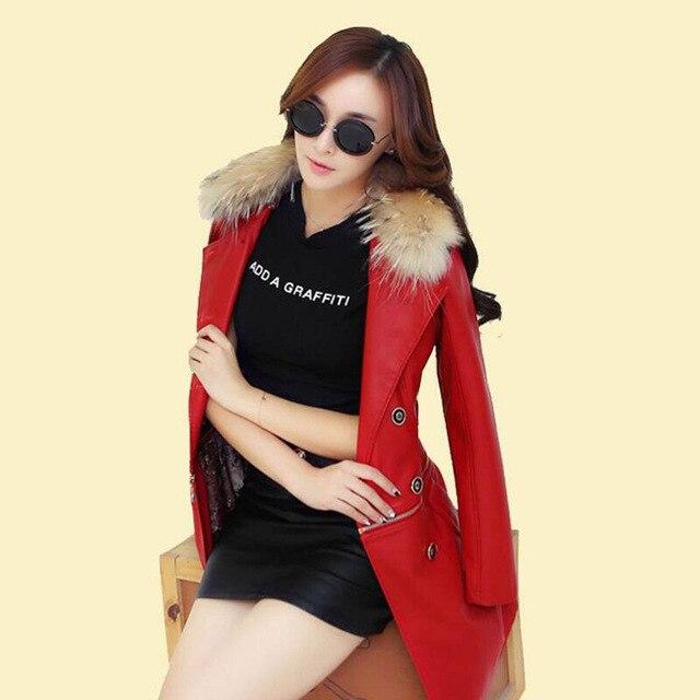 Plus Size 3XL Raccoon Fur Collar Leather Jacket Women Leather Coat