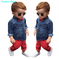 Humor Bear Fishion Baby Boy Clothes Set Children Clothing Cowboy Blouse + Red Pant  2Pcs Suit Casual Infant Clothing