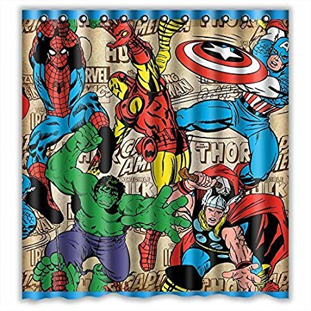 Bathroom Shower Curtains Marvel Comics Superheroes Eco-friendly Waterproof Fabric Washable Shower Curtain
