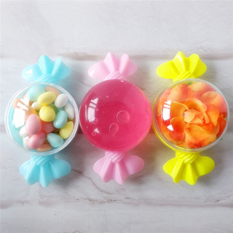12pc/lot Plastic Candy Gift Boxe Lovely Candy Shape Candy Box Round Chocolate Candy Boxes Wedding Birthday Baby Shower Decor P25