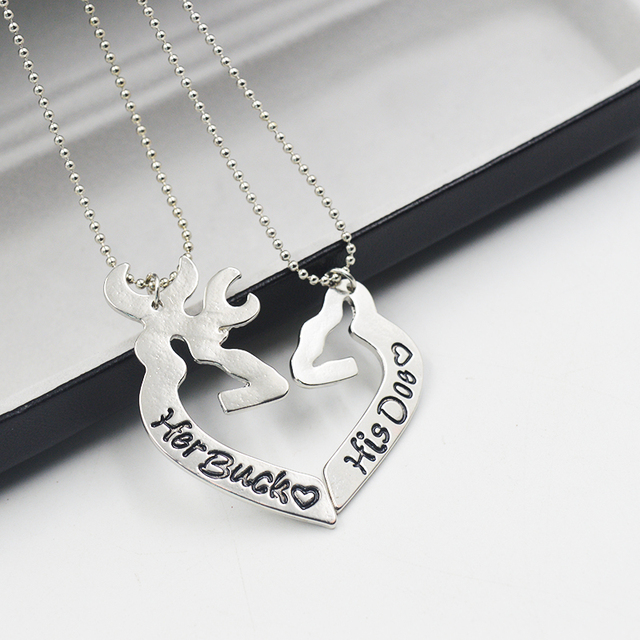 41055f1157 Engraved His/Her Heart Her Buck His Doe Necklace Guitar Pick Matching For Couples  Love Girl Guy Deer Silver Valentine's Day gift