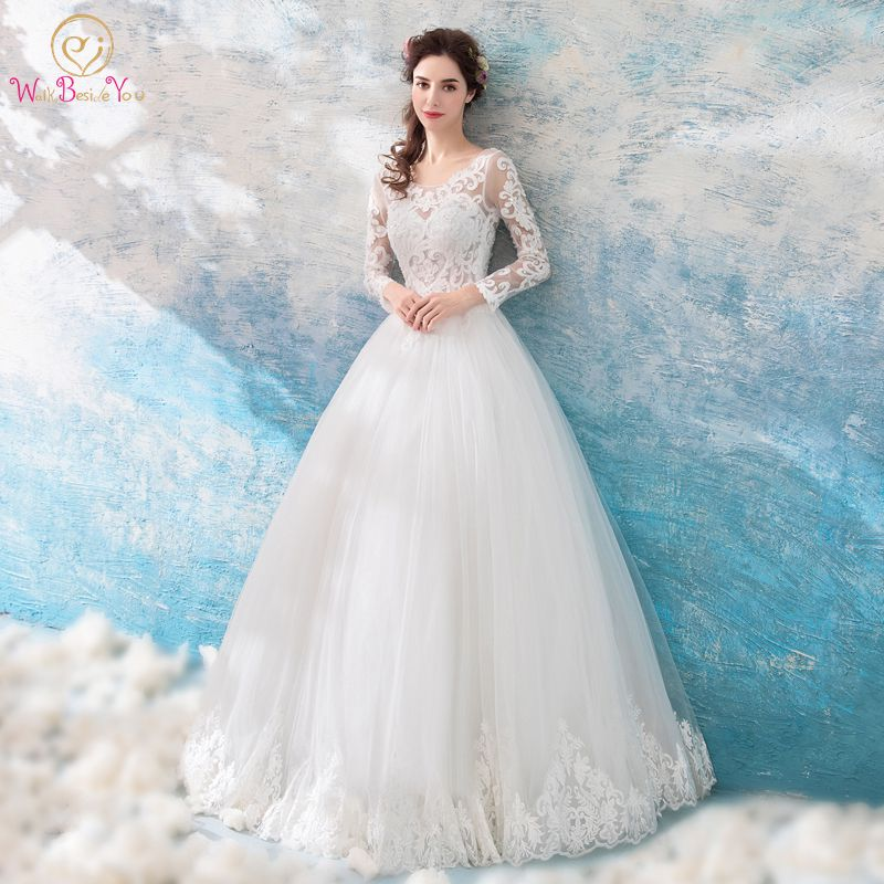 Walk Beside You Ivory Wedding Dresses Long Sleeves Lace Applique Beads Transparent Ball Gown Long Floor