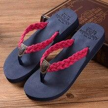 2016 brand Summer woman  Handmade cotton woven belt sandals women bling  flip flops slides beach slippers 4cm High heels