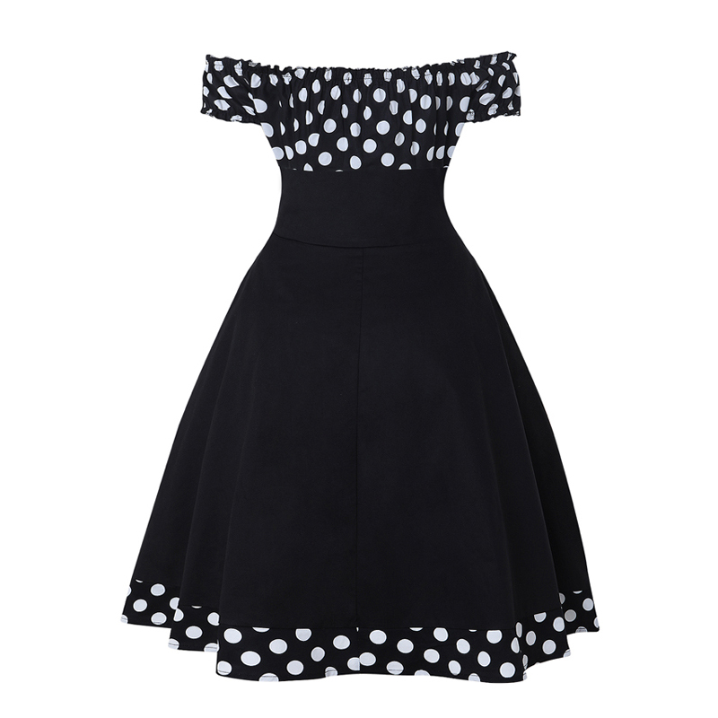OTEN Sexy Women dress Summer Off shoulder Polka Dot Printed Button A Line Pin up Vintage Rockabilly Skater Party robe dresses in Dresses from Women 39 s Clothing