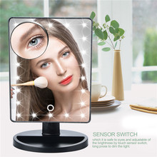 LED Touch Screen Makeup Mirror Professional Vanity Mirror With 16 LED Lights Health Beauty Adjustable Countertop 22 Led RHK60