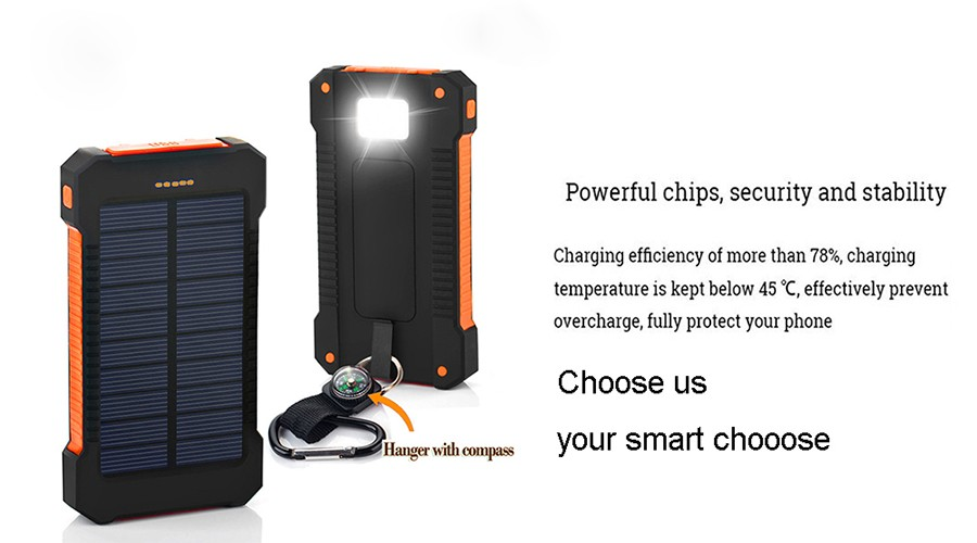 Waterproof Solar 30000mAh Solar Power Bank Charger 2 USB Ports External Charger Powerbank for Xiaomi with LED Light 1