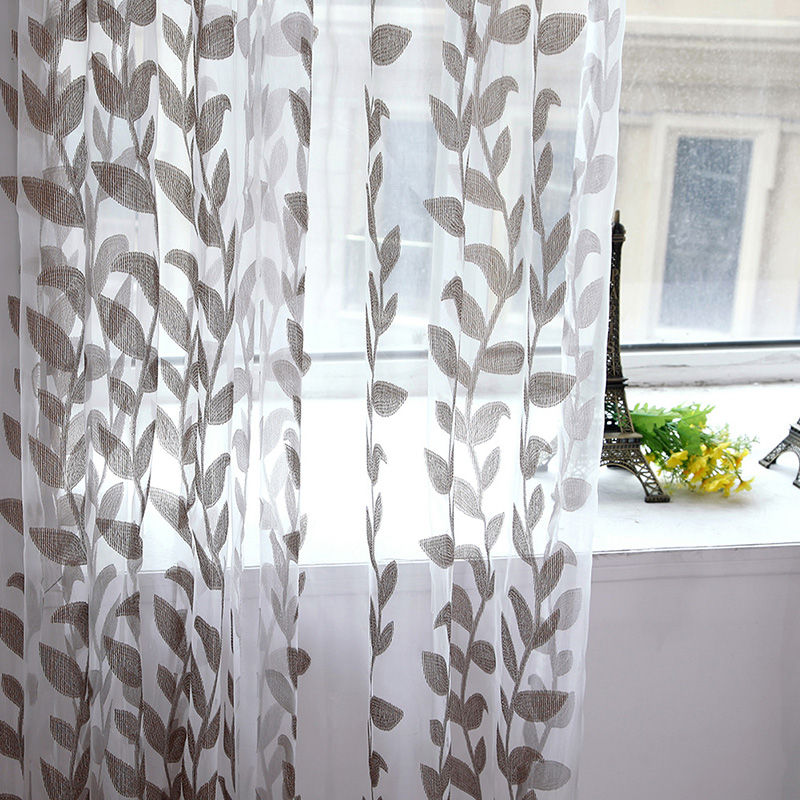 Home Curtains Voile Super Leaves Printed Tulle Living Room Window Door Drapes Scarf Sheer Panel Valances Home Hanging Decor