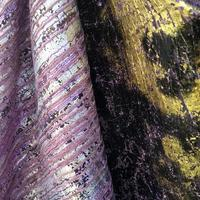 Laser Stamping Black Purple Gold Film Wire Drawing Flash Texture Fabric dress textiles polyester Blended jacquard fabric C201