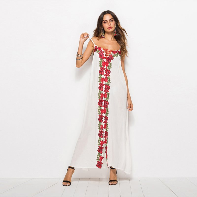 f2d6e5c4e White Maxi Dress Women Flower Embroidery Fashion Lace Up Summer New ...