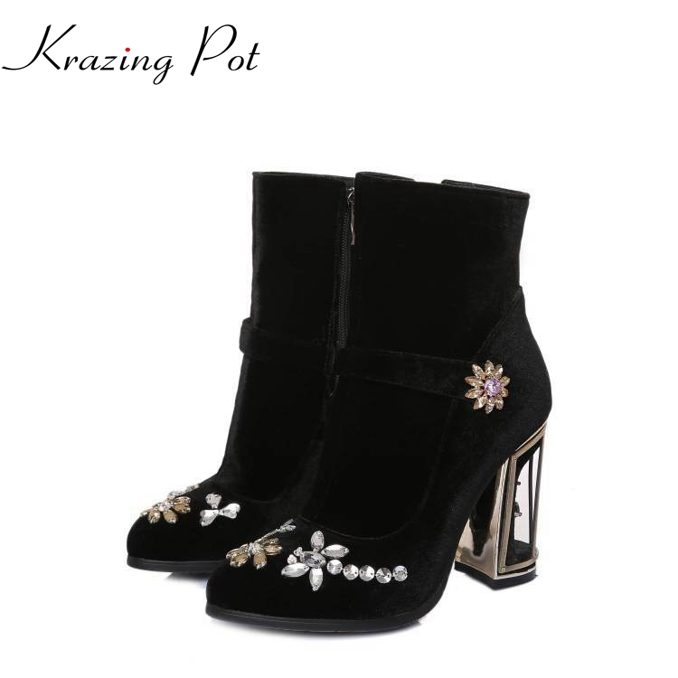 2018 fashion brand winter shoes black round toe crystal women mid-calf boots warm high heel solid causal sexy cowboy boots L13