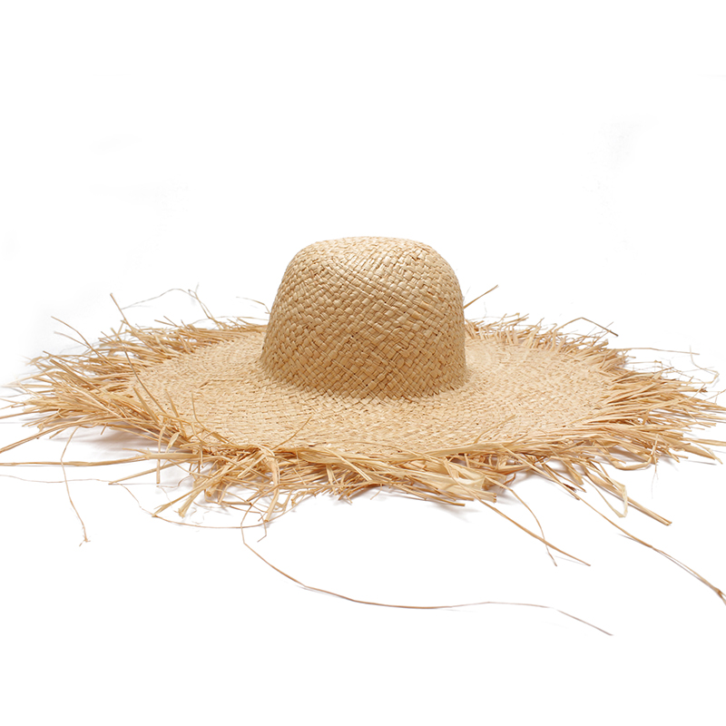 3a39aac7318e2 Women Summer Sun Hat With A Large Brim Ladies Raffia Straw Hat Fringe Big  Beach Hats For Holiday Sombrero Hombre Verano-in Women s Sun Hats from  Apparel ...