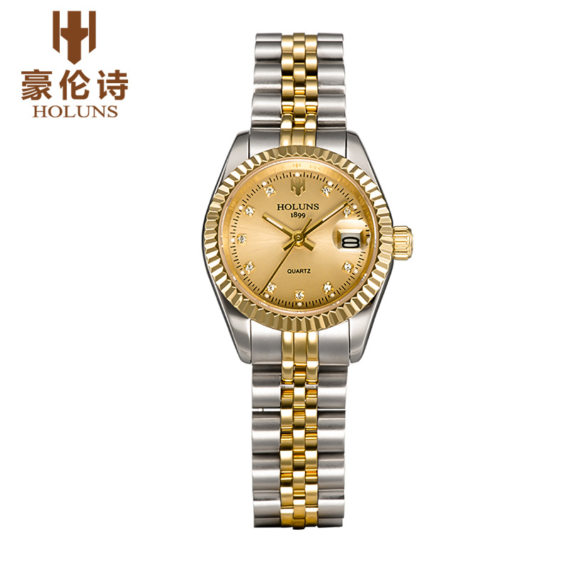 Luxurious Diamond quartz ladies watches business Dress stainless steel waterproof watch love gift 2017 Top sale Fashion holuns ...
