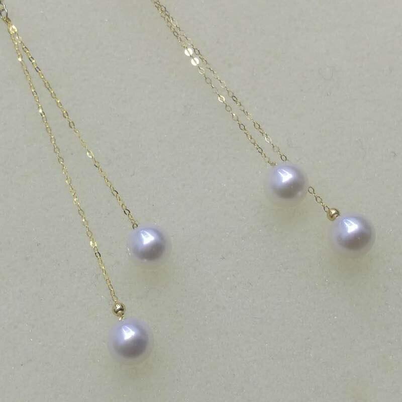 Nouvelle magnifique 2 rangées G18K Akoya perle boucle d'oreille longue dangle 6 cm