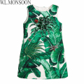 W.L.MONSOON Girls Dress 2017 Brand Party Dress Princess Costume Green&White Tropical Print Robe Enfant Kids Dresses with Jewels
