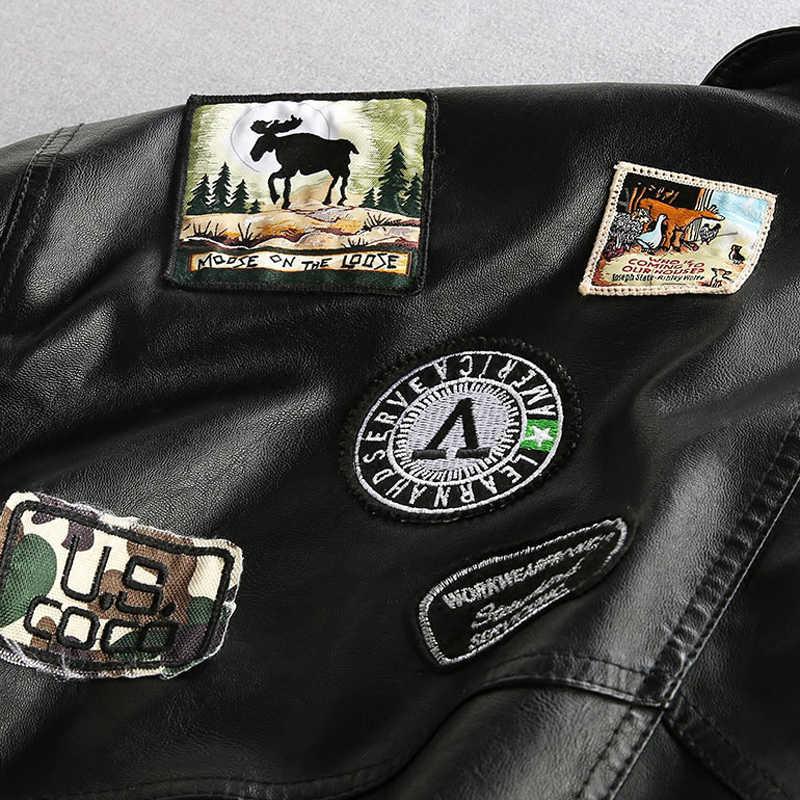 Air Force Мужские кожаные куртки пальто плюс размер 3XL патч дизайн кожаные куртки Уличная брендовая одежда для мужчин Европейский стиль A544
