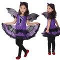 De lujo de la navidad del partido de la mascarada batman bat girl costume niños cosplay danza dress disfraces para niños ropa púrpura