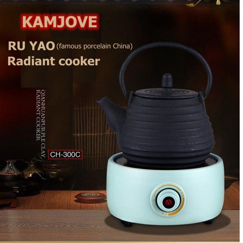 Livraison gratuite KAMJOVE CH-300 en céramique cuisinière rayonnante en fonte verre et argent pot de thé poêle cuit théière thé poêle