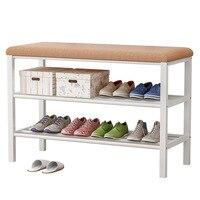 Simple 3 Layers Shoe Bench Multi Functional Home Furniture Metal Shoe Shelf Can be Changed Sofa Entrance Shoe Rack Organizer