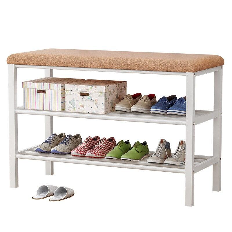 Simple 3 couches banc de chaussures multi-fonctionnel meubles de maison étagère à chaussures en métal peut être changé canapé entrée étagère à chaussures organisateur