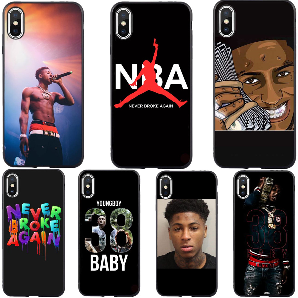 Broke Again Nba Youngboy 38 Baby Rap Hip Hop Music Fan Silicone Phone Case Cover For iPhone XS MAX XR 7 8 Plus 6 6sPlus 5 5S SE iphone xr case magnetic