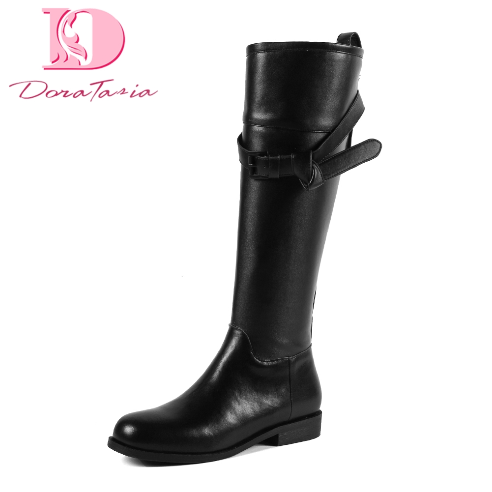 Doratasia Brand new genuine leather cool riding Boots Woman Shoes belt buckles Fashion Knee High Boots Shoes Woman bootsDoratasia Brand new genuine leather cool riding Boots Woman Shoes belt buckles Fashion Knee High Boots Shoes Woman boots