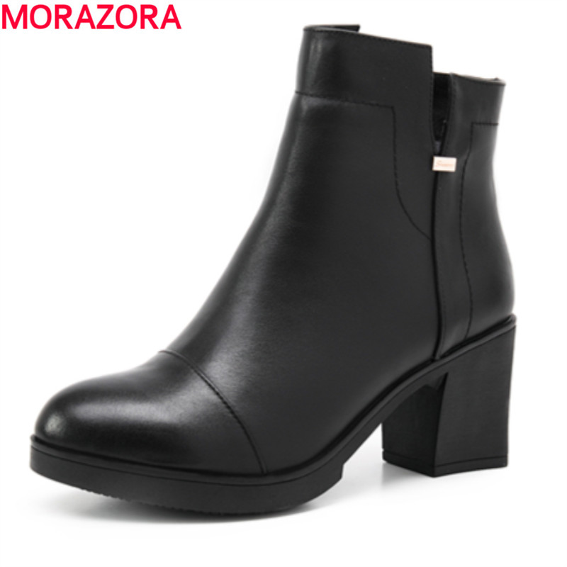 ФОТО new 2017 autumn winter high quality genuine leather ankle boots thick high heels round toe solid black leisure shoes woman