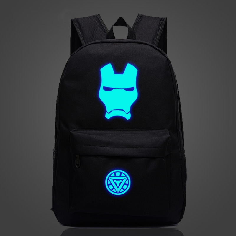 Superhero Iron Man Luminous Backpack Men Women Rucksack Cartoon Travel Bag Nylon Mochila Galaxia School Bags For Teenage Girls