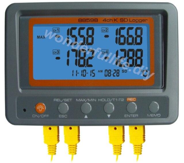 Multi-channel Digital Thermometer AZ88598 4 Channel K Type Thermocouple Temperature logger SD Card Data Logger AZ-88598
