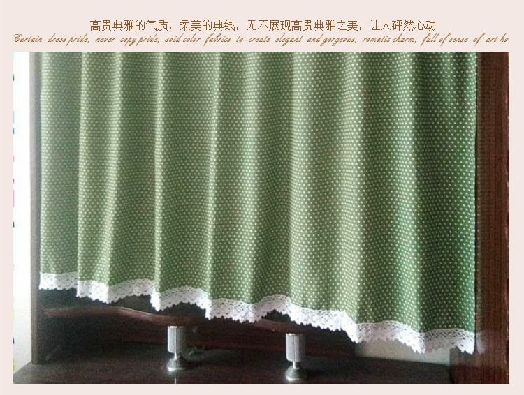 Free Shipping Pastoral Cotton Green Polka Dot Lace Elegant Coffee