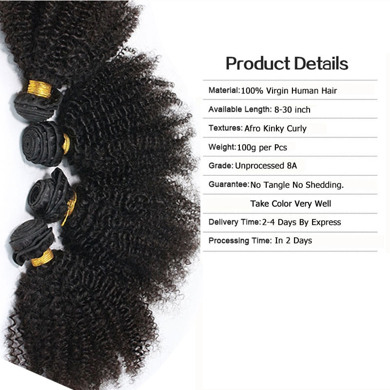 Eseewigs Human Hair Weft Afro Kinky Curly Brazilian Hair Weave Bundles Remy 4B 4C Human Extensions 1 or 3pcs Double Weft Weave