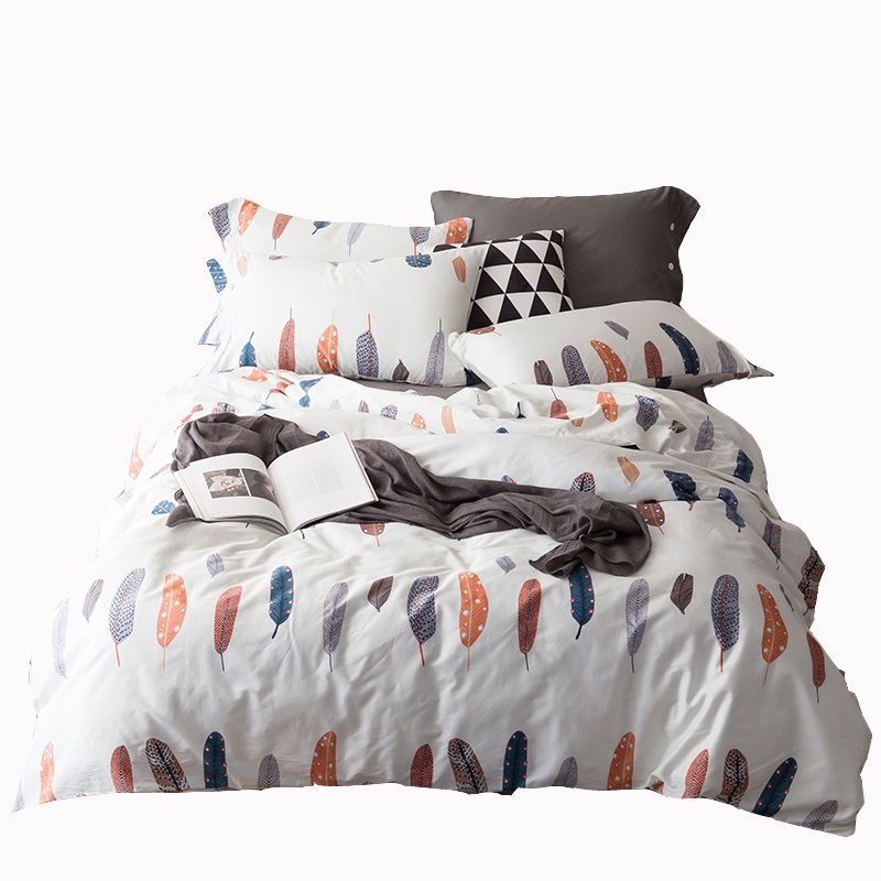 4pcs feather print comforter warm bed sheet bedding pillowcases egyptian cotton comforter bedding set queen king